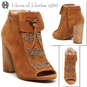 House of Harlow 1960 Cognax Max Beaded Bootie 10
